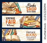 old vintage books fair and rare ... | Shutterstock .eps vector #1131223094