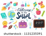 back to school education hand... | Shutterstock .eps vector #1131235391
