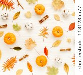 pattern made of dry autumn... | Shutterstock . vector #1131235577