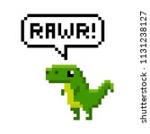pixelated cartoon dinosaur... | Shutterstock .eps vector #1131238127