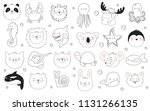 vector set of cute funny... | Shutterstock .eps vector #1131266135