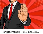 businessman puts out his hand... | Shutterstock .eps vector #1131268367