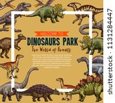dinosaurs park sketch poster.... | Shutterstock .eps vector #1131284447