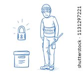 sad hacker or thief not able to ... | Shutterstock .eps vector #1131297221