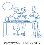 two women and a man  parents or ... | Shutterstock .eps vector #1131297317
