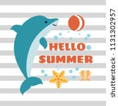 hello summer card with playing... | Shutterstock .eps vector #1131302957