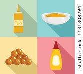mustard seeds sauce bottle... | Shutterstock .eps vector #1131308294