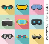 goggles ski glass mask icons... | Shutterstock .eps vector #1131308321
