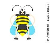 a boy in a bee costume vector...   Shutterstock .eps vector #1131310637