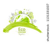 environmentally friendly world. ... | Shutterstock .eps vector #1131331037