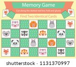memory game with cute animals... | Shutterstock .eps vector #1131370997