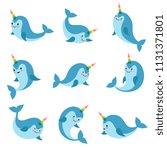 cute cartoon anime unicorn... | Shutterstock .eps vector #1131371801