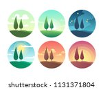 beautiful summer landscape at... | Shutterstock .eps vector #1131371804