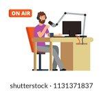 broadcast in radio studio.... | Shutterstock .eps vector #1131371837