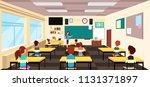 teacher at blackboard and... | Shutterstock .eps vector #1131371897