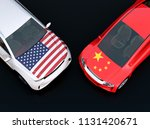 us and china flags on two... | Shutterstock . vector #1131420671
