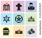set of 9 simple editable icons... | Shutterstock .eps vector #1131423329
