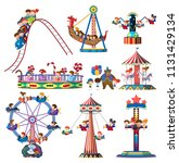 a set of theme park rides... | Shutterstock .eps vector #1131429134