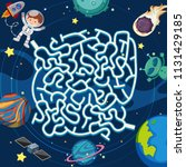 a space maze puzzle game... | Shutterstock .eps vector #1131429185