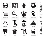 set of 16 icons such as train...