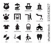 set of 16 icons such as tooth ...