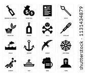set of 16 icons such as tomb ...