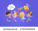 happy boys and girls with the... | Shutterstock . vector #1131444464