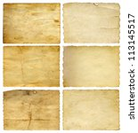 Stock photo concept or conceptual old vintage paper backgrounds set or collection isolated on white ideal for 113145517