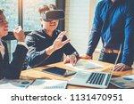 virtual business meeting... | Shutterstock . vector #1131470951