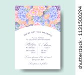 wedding floral invitation with  ... | Shutterstock .eps vector #1131500294