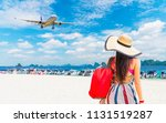 traveler woman in summer dress... | Shutterstock . vector #1131519287