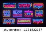 casino collection neon signs... | Shutterstock .eps vector #1131532187