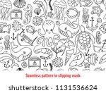cute nautical doodle seamless... | Shutterstock .eps vector #1131536624