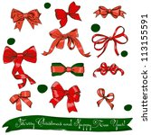 set of red bows. vector... | Shutterstock .eps vector #113155591