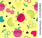 seamless pattern with fruits ... | Shutterstock .eps vector #1131565481