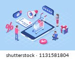 online shopping concept with... | Shutterstock . vector #1131581804