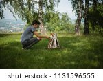 yellow campground.tourism and... | Shutterstock . vector #1131596555