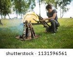 yellow campground.tourism and... | Shutterstock . vector #1131596561