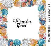 watercolor floral background....   Shutterstock . vector #1131602495