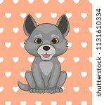cute little wolf. cartoon... | Shutterstock .eps vector #1131610334