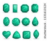 set of realistic dark green... | Shutterstock .eps vector #1131613124