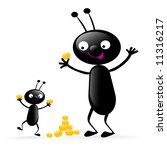 two funny black bugs enjoying... | Shutterstock .eps vector #11316217