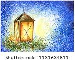shining christmas lantern on... | Shutterstock . vector #1131634811