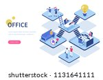 coworking office concept with... | Shutterstock . vector #1131641111
