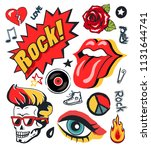punk rock n roll icons stickers ... | Shutterstock .eps vector #1131644741