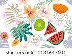 exotic tropical garden. wide... | Shutterstock .eps vector #1131647501