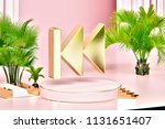 isolated gold icon with plants... | Shutterstock . vector #1131651407
