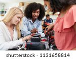 teacher with female pupils... | Shutterstock . vector #1131658814