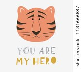 a funny tiger face with text  ... | Shutterstock .eps vector #1131666887
