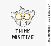 a cute outline monkey head with ... | Shutterstock .eps vector #1131667397